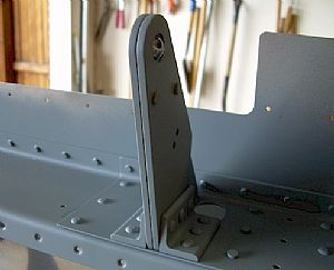 Here�s one of the inboard Aileron Brackets riveted in place