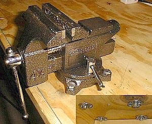 Attaching the vise to the work bench